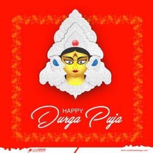 Durga Puja Cultural Indian Festival Greeting Card Premium Vector