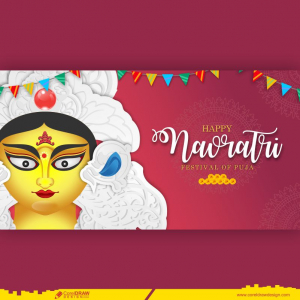 Happy Durga Puja and Navratri Indian Traditional Festival Banner Free Vector