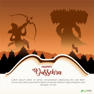 Happy Dusshera Ravan Vadh Lord Ram Fight Vector Template Wishes Card