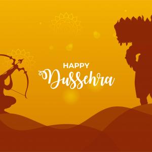 Dusshera Ravan Vadh Lord Ram Sunset Fight Vector Template Wishes Card