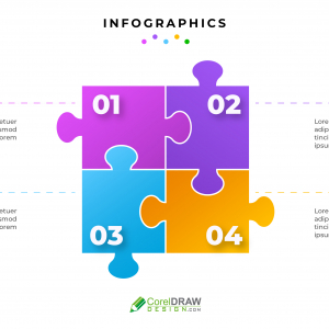 Abstract Corporate Infographic Puzzle free vector template
