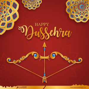 Happy Dussehra Wishes Card with Bow and Arrow Free Vector