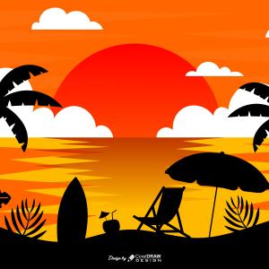 Scenery Beach Seaside Free Vector File Download From Coreldrawdesign