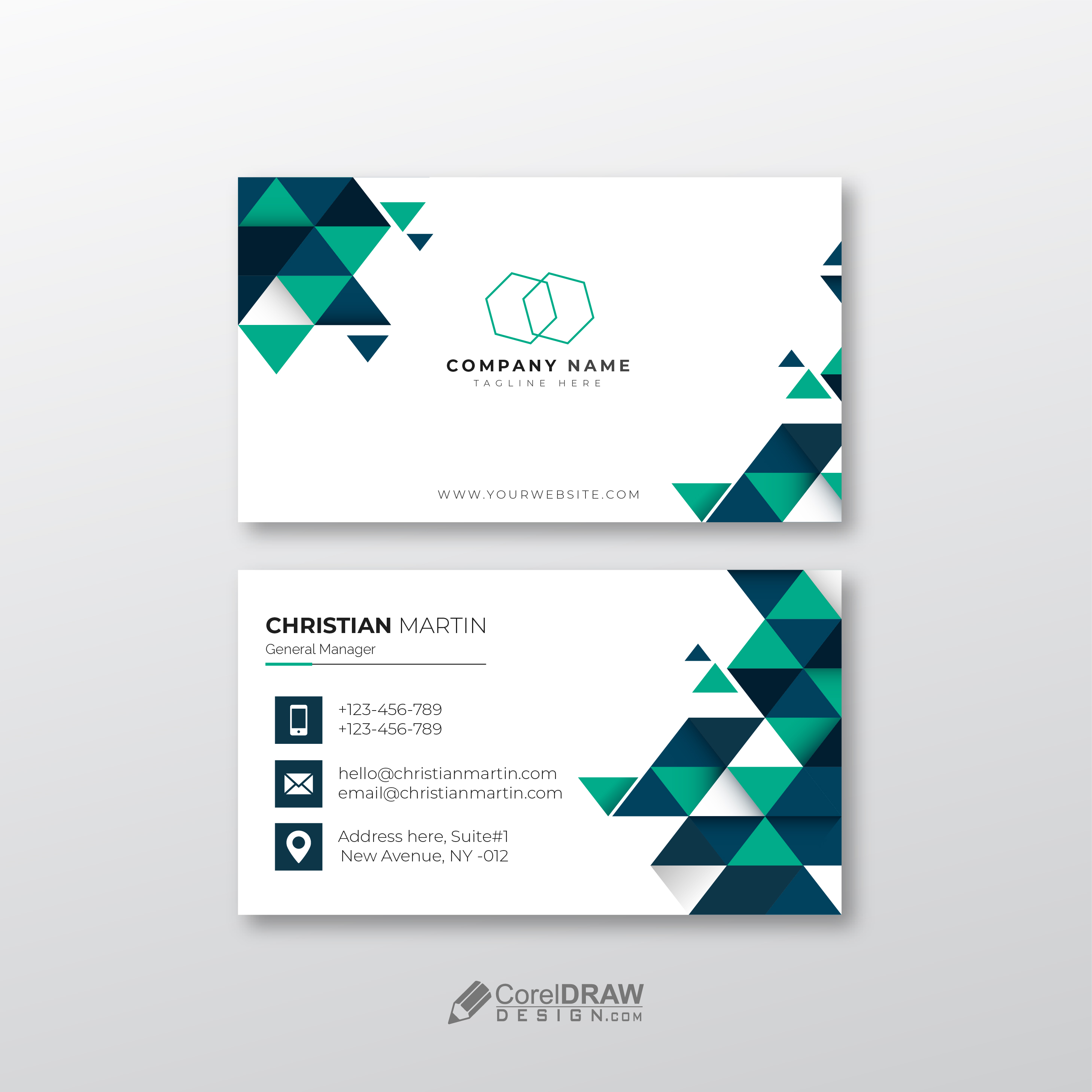 Clean Elegant Corporate Abstract Geometric Business Card