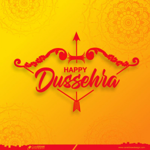 Happy Dussehra Indian Festival Celebration Background Bow Arrows Free Vector